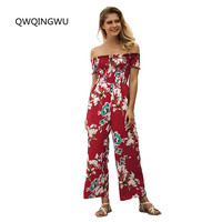 Sexy Floral Print Women Jumpsuit Loose Ruffle Boho Jumpsuit Romper Casual Beach Summer Wide Leg Jumpsuit Loose Bodysuit