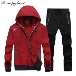 Bumpybeast 2018 Новый весна-осень Мужская спортивная одежда Большие размеры 6XL 7XL 8XL 9XL куртка с капюшоном + штаны спортивный костюм Для мужчин