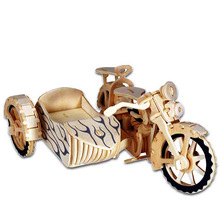 En barnleksaker av 3d pussel Träleksaker för barn Motorcykel Sidecar En Bästa Montessori Educationaly Diy Toy Som En Gåva För Barn