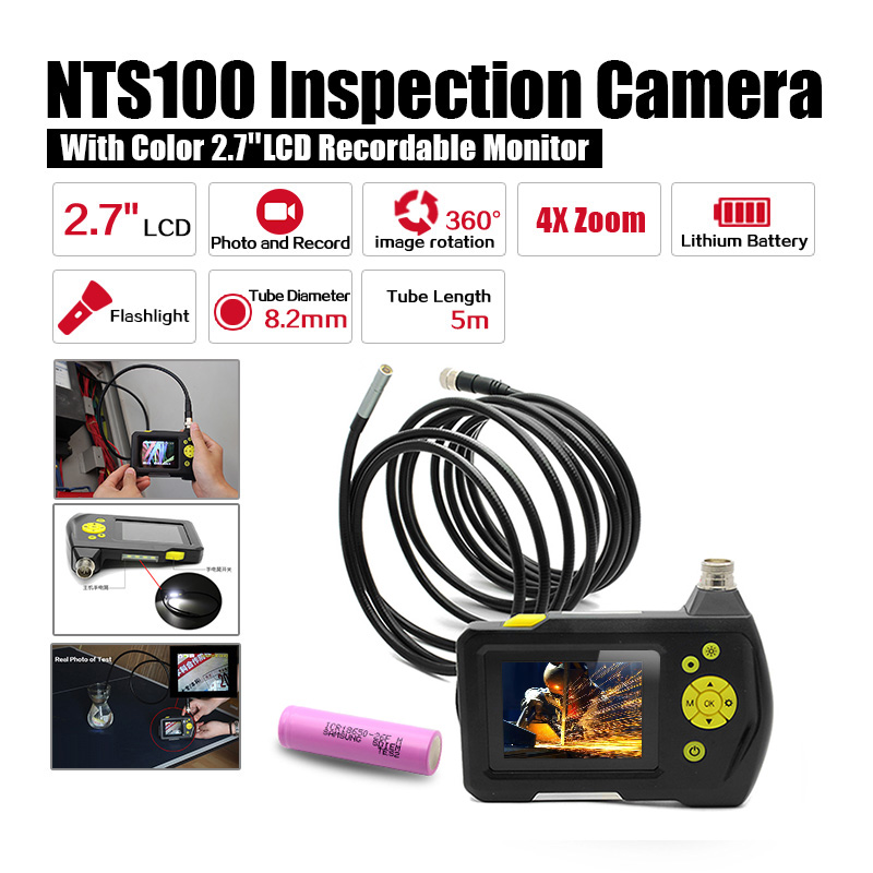 Blueskysea Dia 8.2mm 2.7 LCD NTS100 Endoscope Borescope 5M Snake Inspection Tube Camera DVR+Free 18650 Lithium Battery eyoyo nts100 dia 8 2mm 2 7 lcd nts100 endoscope borescope snake inspection 1m tube camera dvr