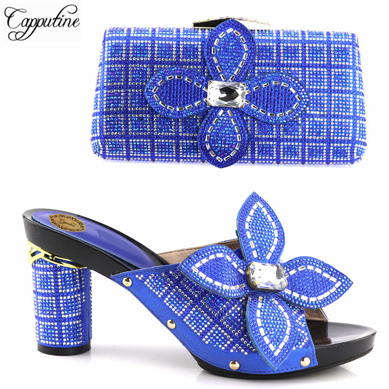 Capputine Newest Italian Flowers Rhinestone Shoes And Bag Set African Style High Heels Shoes And Bag Set For Party 5 Colors capputine high quality italian gold shoes and bag set fashion african style high heels shoes and bag set for party dress tx 25