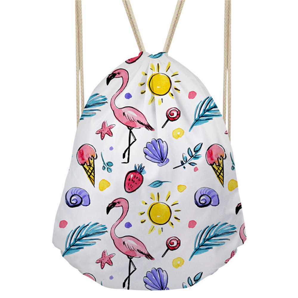 ThiKin Cute Cartoon Flamingo Print Drawstring Bag For Women Girls Travel Softback Storage Bag Feminina Fashion Shoulder Bags