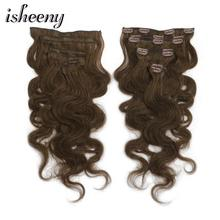 Isheeny 14 16 18 Remy Clip In Human Hair Extensions 7pcs/set Body Wavy Clip-in Full Head Black Brown Blonde