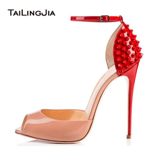 Peep Toe Ankle Strap Extreme High Heels Studded Women Heeled Sandals Stiletto Heel Pumps Ladies Summer Sexy Prom Party Shoes clear ankle strap peep toe heeled sandals