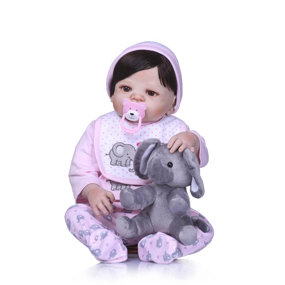 Nicery 22inch 55cm Bebe Reborn Doll Hard Silicone Boy Girl Toy Reborn Baby Doll Gift for Child Elephant Bib baby Doll nicery 22inch 55cm bebe reborn doll hard silicone boy girl toy reborn baby doll gift for children purple princess hat baby doll