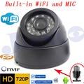 Wi-fi Ip-камера Аудио 720 P HD Системы ВИДЕОНАБЛЮДЕНИЯ МИКРОФОН Беспроводной P2P крытый Купольная Камера Ик Мини Onvif H.264 ИК Ночного Видения КАМЕРЫ