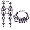 Minmin roxo conjuntos de jóias de noiva de cristal grande teardrop brincos pulseiras conjuntos conjuntos de jóias de casamento para as mulheres eh168 + sl029