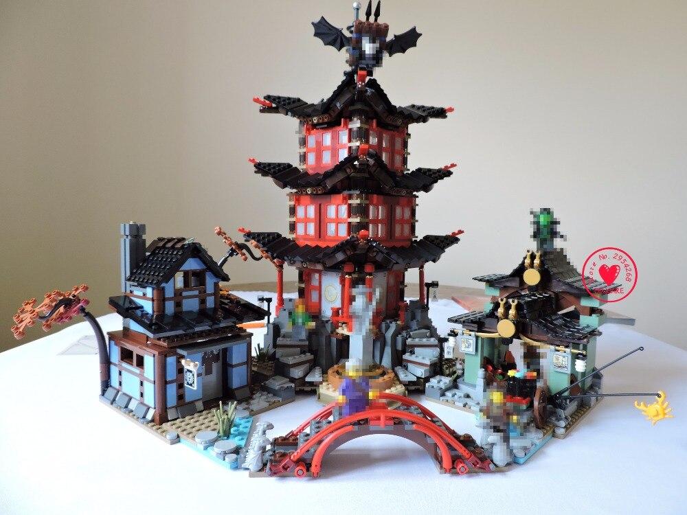 New 2150Pcs Ninja Temple of Airjitzu Jay Kai Cole model Building Block bricks diy kit set fit 70751 dhl in stock lepin 06022 2150pcs ninja temple of airjitzu jay kai cole building blocks bricks set diy toys fit for 70751