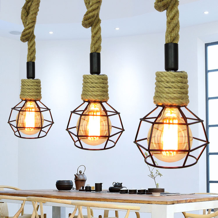 Single Head Hemp Rope Chandelier American Country Creative Personality Dining Hall Chandelier Retro Industrial Coffee Shop american village restaurant coffee museum creative personality retro handmade decorative rope chandelier brown single head 3m