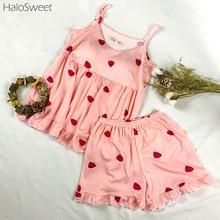 HaloSweet Sleepwear Women Cotton Pijama Lingerie Pyjamas Women Suit Female Pajamas Suit Summer Home Clothes For