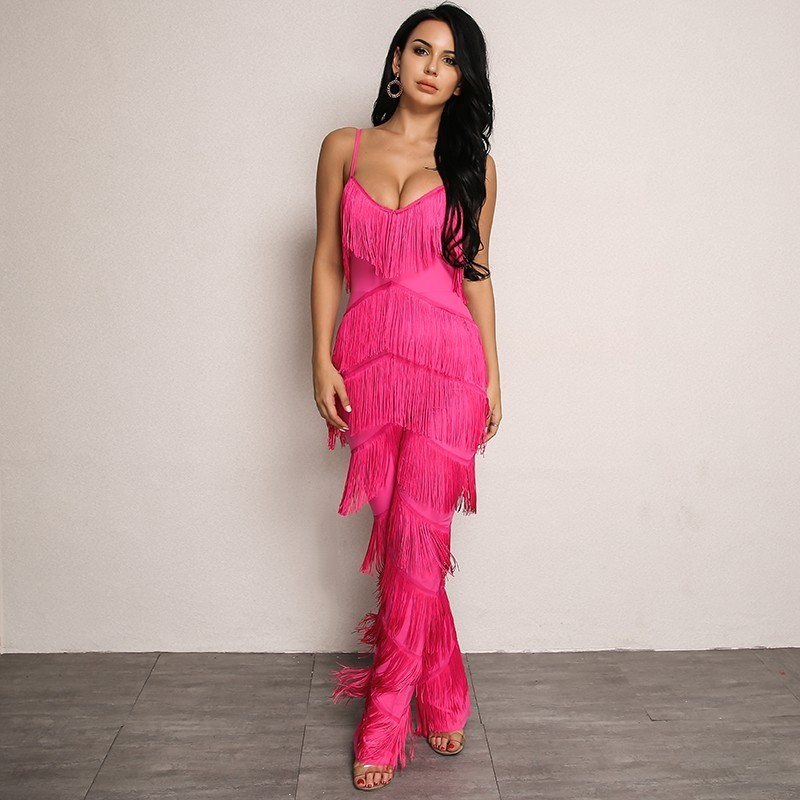 5e40b0055c2 Yissang Rompers Womens Jumpsuit Red Long Backless Jumpsuits 2018 Tassel  Spaghetti Strap Summer Sexy Elegant Overalls For Women-in Jumpsuits from  Women s ...