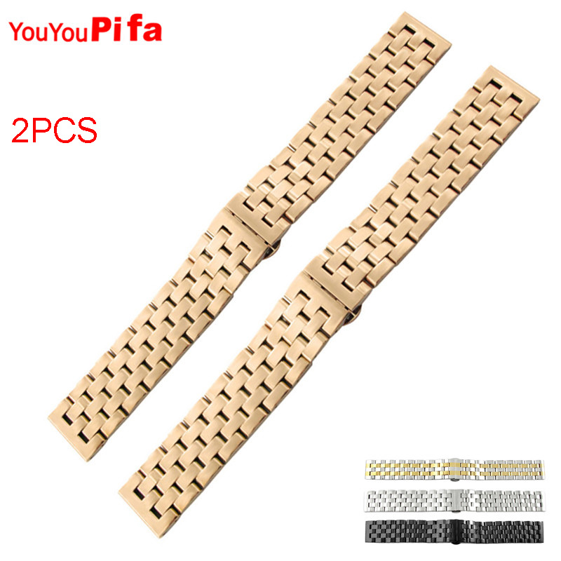2PCS High Quality Stainless Steel Men Watch Strap 20mm 22mm 24mm 26mm Watch Band Hidden Clasp Golden Sliver Black Watchband