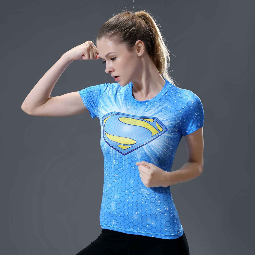 Star superman 3D Printed T-shirts Women Captain America Compression Shirt Short Sleeve Cosplay Super hero For Ladies Tops Female