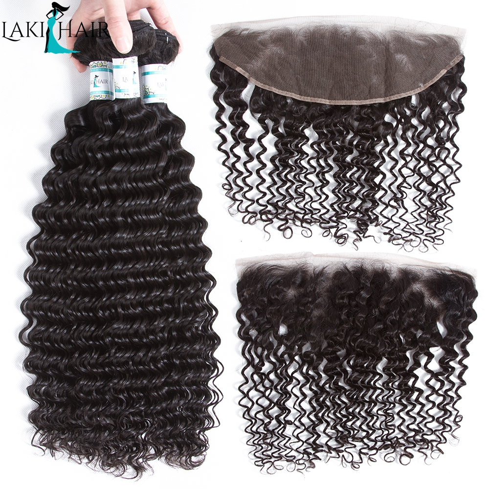 LakiHair Ear To Ear Lace Frontal Closure With 3Bundles Peruvian Deep Curly Human Hair Weave With Closure Remy Hair Extensions
