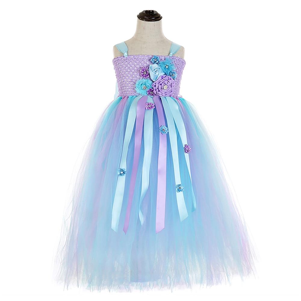 Elegant Purple Top Blue Mesh Tulle Tutu Dress Princess Kids Unicorn Lol Dress for Girl Ankle Length Flower Girls Dresses Age 13 (3)