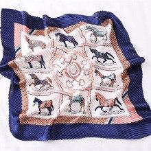 2019 New Womens Small Square Silk Scarf Crinkle Hair Ladies Pleated Scarves Bandana Horse Printed Female Foulard 100*30CM