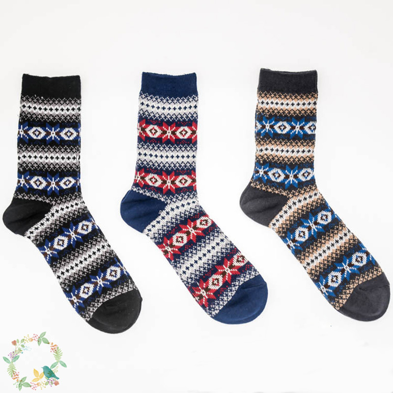 PEONFLY Full Cotton Man happy funny novelty Socks colorful Japan 3PAIRS/LOT Double Needle Restore Rough Line