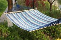 2 Person Quilted Designs Fabric Hammock with Spreader Bars and Detachable Pillow Outdoor Hammock for Camping Travel Sleeping