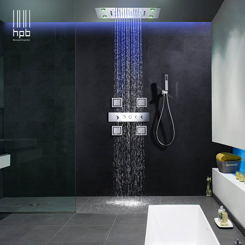 HPB 5 Function Ceiling Mounted LED Rain Shower Set for Bathroom Thermostatic Concealed Shower with 4 Jet Sprayer 020-50X36P-4MF