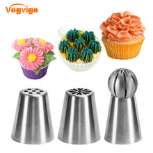 VOGVIGO Pastry Cream Nozzles 3PCS 304 Stainless Steel Cake Decorating Tools Dessert Decor Nozzles Flower Confectionery Nozzles