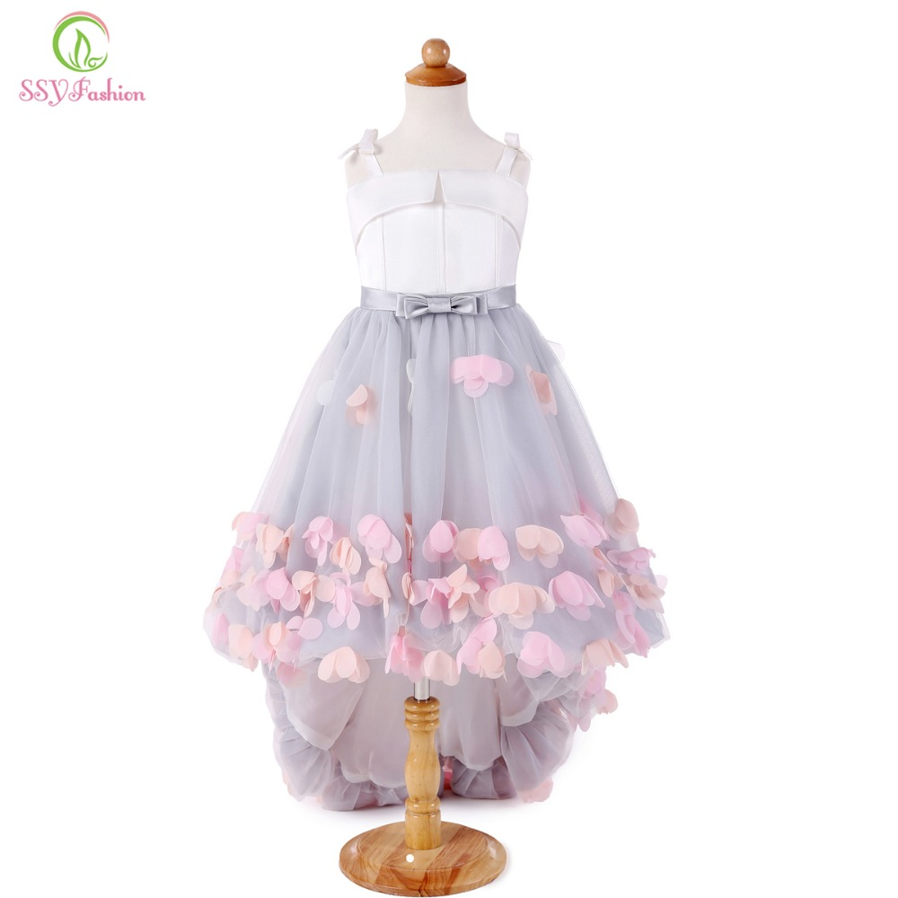 SSYFashion New Sweet Flower Girl Dresses for Wedding Short Front Long Back Satin with Tulle Appliques