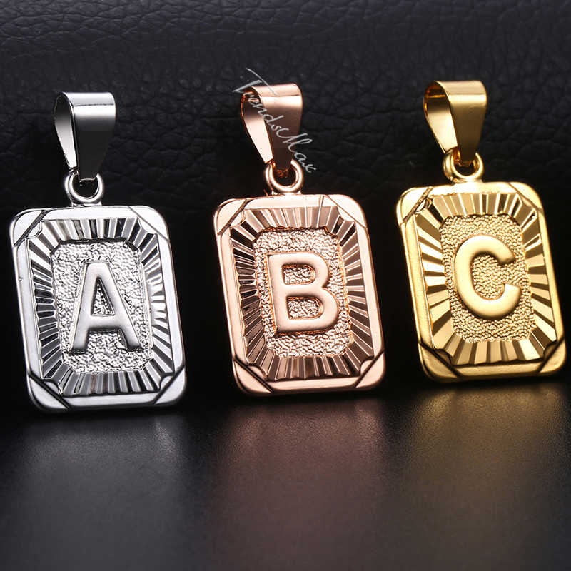 Initial Letters Pendant A-Z 26 Charm For Women Men Rose Gold Silver Womens Pendants Love Letter Fashion Jewelry Gift GPM05