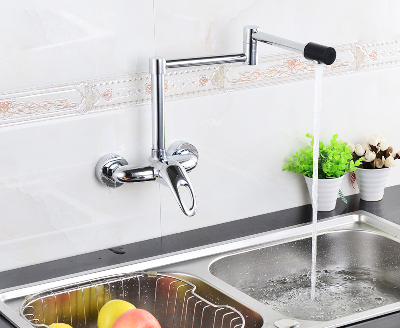 Luxury Folding Brass Kitchen Faucet Wall Mounted Faucet Swivel Spout Valve Mixer Tap