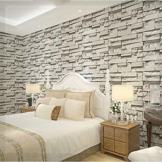 aliexpress.com : acquista moderno naturale grigio rustico mattoni ... - Carta Da Parati Per Soggiorni Moderni
