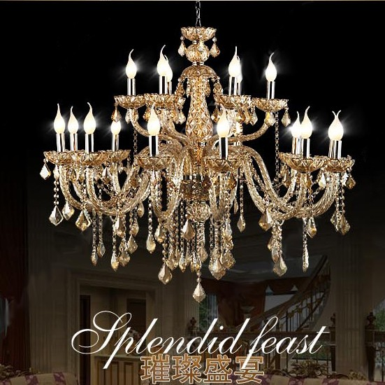 18 svítí velké křišťálové lustry moderní křišťálový lustr dvouplášťový lustr Viktoriánské & Současné lustry