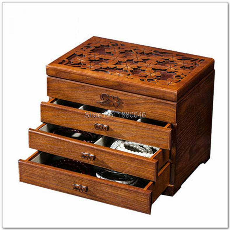 New items large wooden jewelry box jewelry necklace earrings high end European retro Princess box makeup
