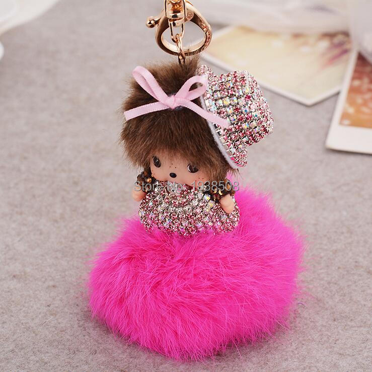 Lovely MONCHHICHI Bling Hat Rhinestone Delicate Keychain for car bag pendant