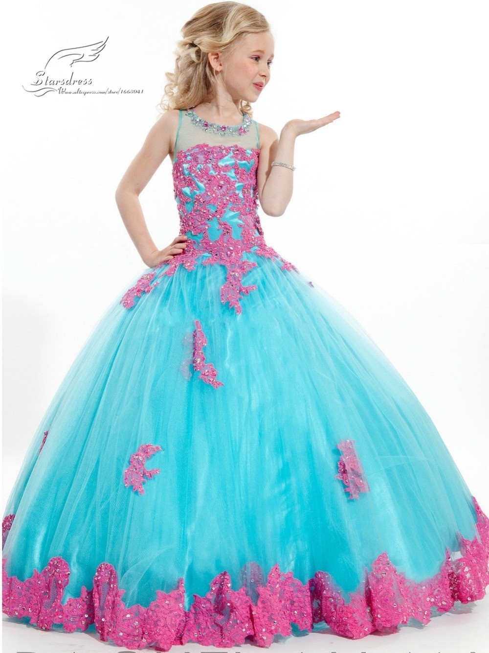 2015 new arrival little font b girl b font ball gown scoop appliqued