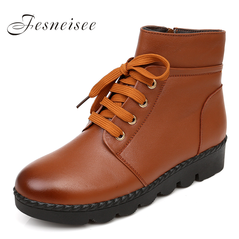 New Flats Ankle Women's Boots Shoes Woman Female Fashion Lace Up Genuine Leather Rubber Sole Superstar Casual Brand Size34-42 Q4 2016 new genuine leather ankle boots men flats shoes lace up casual outdoor shoes men oxford shoes autumn boots