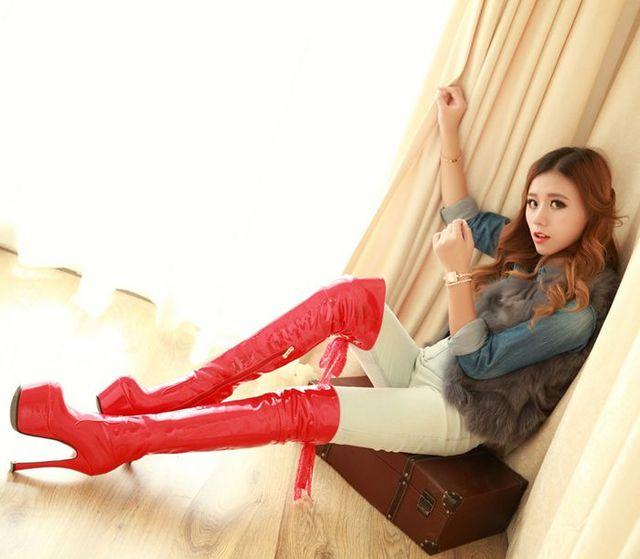Nữ HOT Giày Bằng Sáng Chế Da Gợi Cảm Cao cấp 16 CM Giày Phụ Nữ Trên Đầu Gối Giày Giày Nền Tảng Phối Ren xe Thể Hiện Giày Bốt Nữ