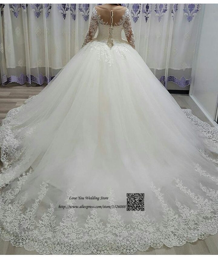 Vestido de Noiva de Renda Mariage Long Sleeve Wedding Dress Lace Ball Gown Wedding Gowns Sequin