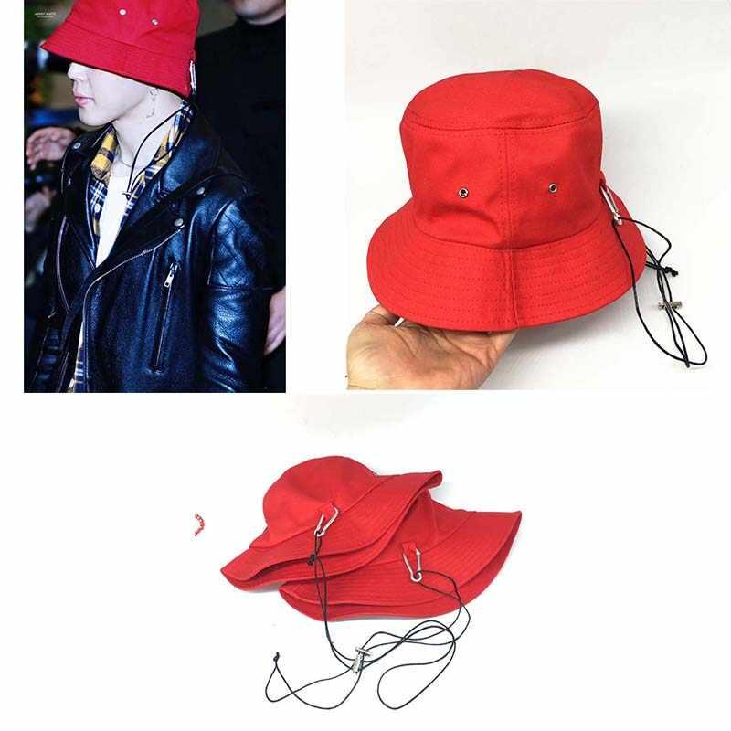 New Kpop BTS JIMIN Long strap Fashion Bucket Hat Fisherman hat Hunting  Fishing Outdoor Cap Men s 25e54e2ebba4