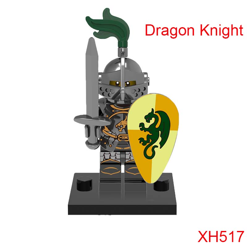 Green Dragon Knight Medieval Knights Building Blocks Xh517 Figures Super Heroes Mini Bricks Diy Toys For Children Hobbies 4pc set ninjagoes dragon knight building blocks kids hot toys ninja bricks mini action figures enlighten toy for children friend