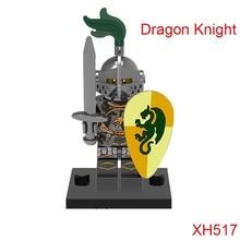 Green Dragon Knight Medieval Knights Building Blocks Xh517 Figures Super Heroes Mini Bricks Diy Toys For Children Hobbies
