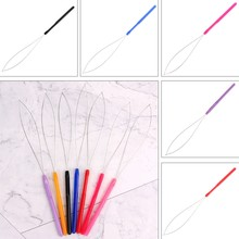 1Pcs Hair Extension Tool Micro Ring Bead Pulling Hoop Loop Feather Threader Stainless steel wire+Acrylic Fashion Tools(China)