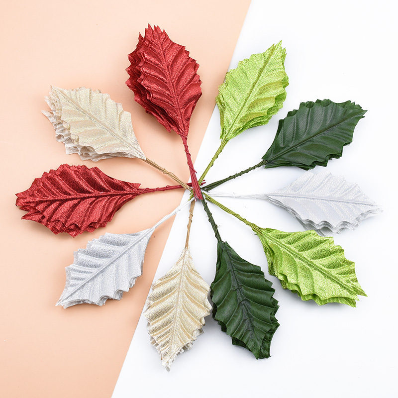 10pcs Artificial Plants Decorative Flowers Wreaths Silk Leaves Christmas Decor For Home Wedding Diy Gifts Wreath Fake Gold Leaf