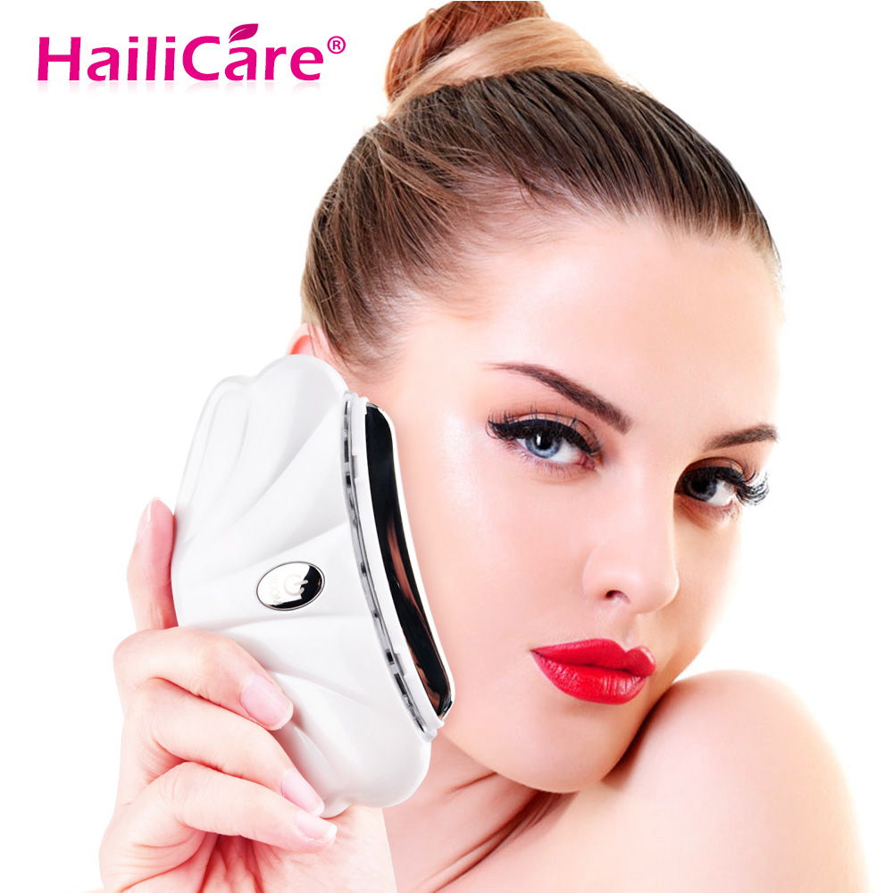 LED Heated Vibration Face Shape Massager Lifting Wrinkle Remover Anti Aging Facial Detoxification Device Skin Care Tools electric vibration eye face massager small anti ageing wrinkle lifting device