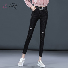 Brief Relate Black Vintage Stretch Jeans Ripped Hole Durable Skinny Denim Pants Mid-waist Casual Fashion Women Slim Trousers