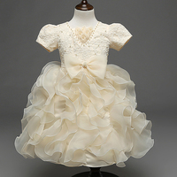 Luxury Champagne Petals Vestidos Girls Clothes Kids Dresses For Girls V NECK Short Sleeve Floral Baby