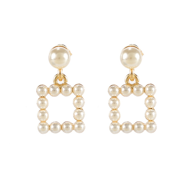 Pearls Clip Earrings For Women No Piercing No hole Ear Cuff Square Mental Gold Color Vinatge