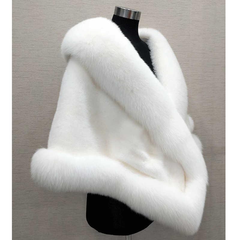Chaqueta corta de piel de visón de imitación de otoño e invierno de gran calidad para mujer con cuello de piel de zorro Para Boda nupcial OKXGNZ AF555