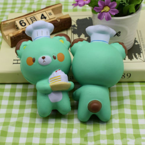 Cute PU Squeeze Slow Squishy Stretch Simulated Bear Cook Kids Toys Anti Relief Stress Decor