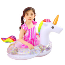 Inflatable Flamingo Unicorn Child Seat Ring Baby Bubble Bottom Seat Circle Beach Sea Toys Water Play Swimming Pool Best Gifts