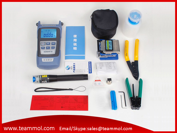 bilder für Faser Ftth Tool Kit mit Faser-spalter Optischen Leistungsmesser 5 km Visuellen Fehlersuch abisolierzange