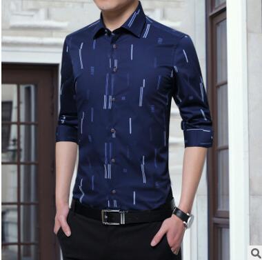 2018 новые осенние мужские Длинные рукава вертикальные полоски рубашка тенденции моды тонкий и против морщин Молодежная рубашка партия GZ 99
