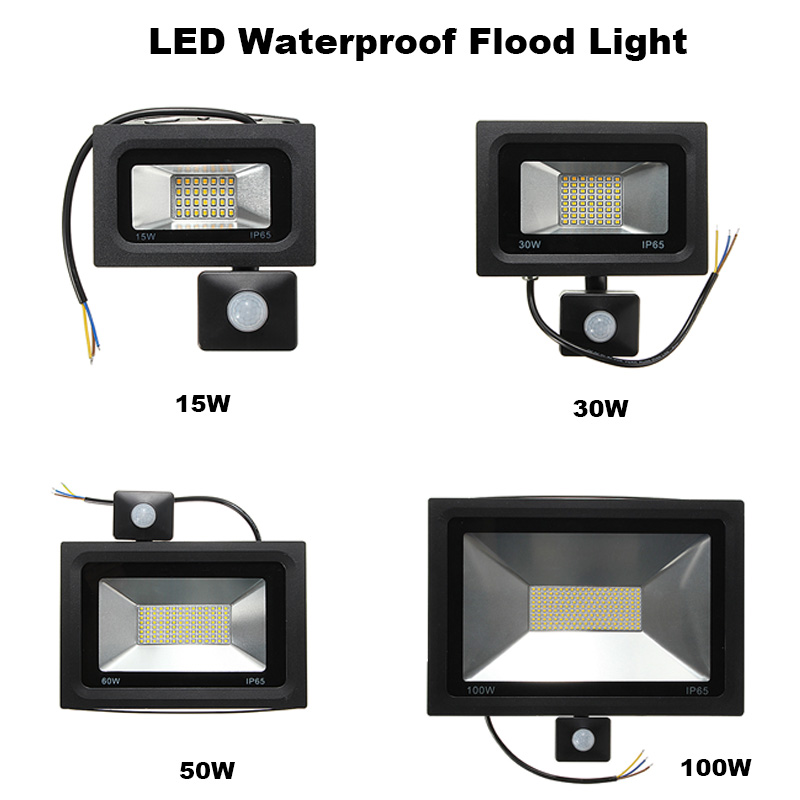 15W 30W 60W 100W Floodlight PIR Motion Sensor LED Flood Light 2835 SMD Outdoor Lamp Warm